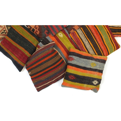 2032 - Group of square Kilim design cushions...