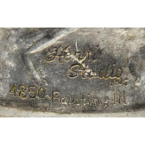 2029 - Large stoneware garden cherub water feature, signed Henri Stuclio Palatinel III, 95cm high x 80cm wi...