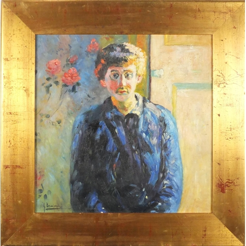 2037 - Portrait of a female wearing a coat, Italian school oil on board, bearing a signature Boccioni, fram...