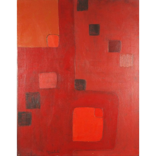 2039 - Abstract composition, red monochrome oil on canvas, bearing a signature Turnbull, unframed, 92cm x 7...