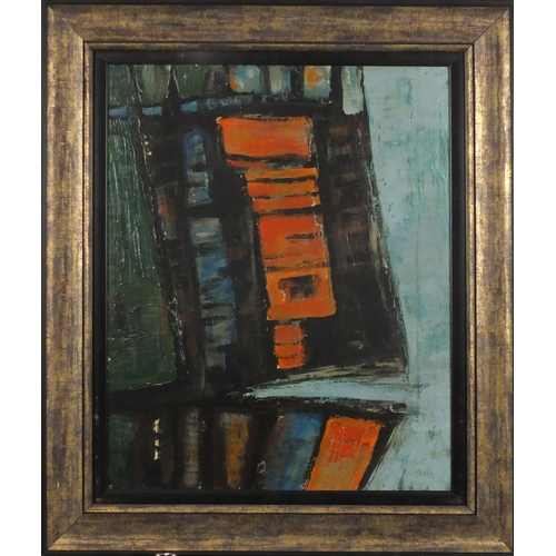2041 - Abstract composition, oil on canvas, bearing a signature, Bell, mounted and framed, 49.5cm x 39.5cm...