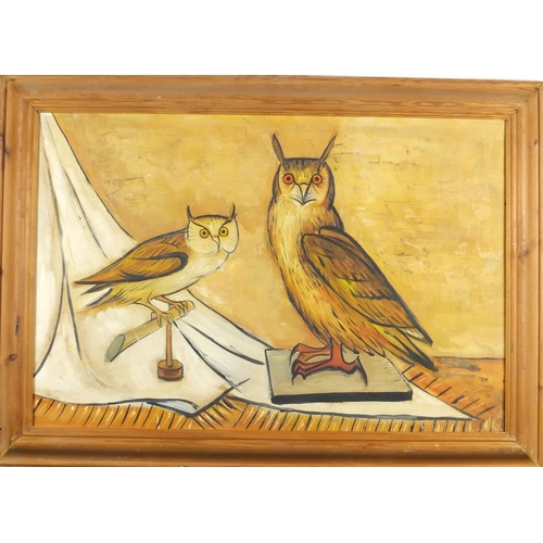 2038 - Manner of Bernard Buffet - Two owls, oil on canvas board, inscribed verso, framed, 74.5cm x 49.5cm...