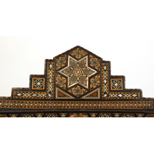 2023 - Good Moorish design elbow chair, with geometric parquetry inlay, probably Syrian, 88cm high...