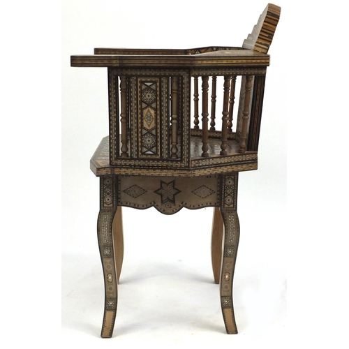 2024 - Good Moorish design elbow chair, with geometric parquetry inlay, probably Syrian, 88cm high...