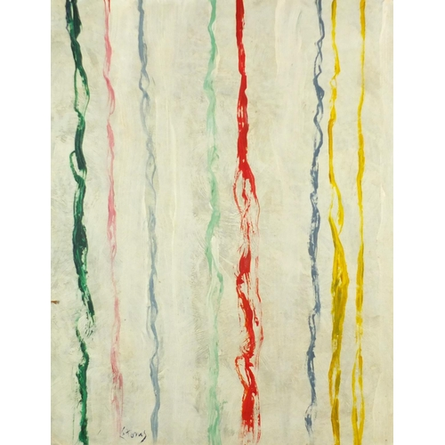 2042 - Abstract composition, colourful lines, oil on board, bearing an indistinct signature possibly Stoms,...