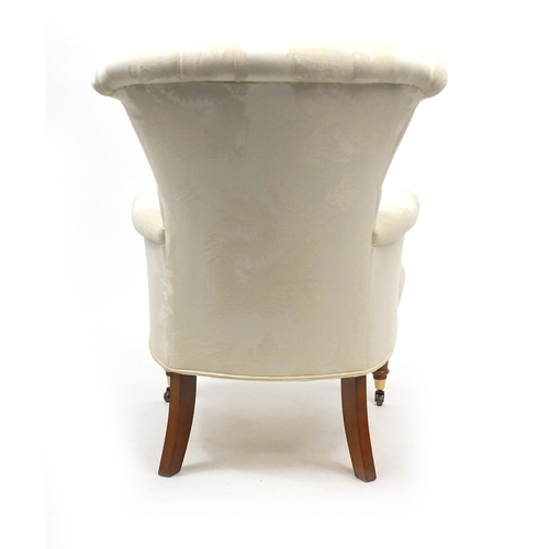 2013 - Button back bedroom chair with cream dragon design upholstery, 98cm high...
