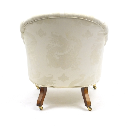2014 - Button back bedroom chair with cream dragon design upholstery, 80cm high...