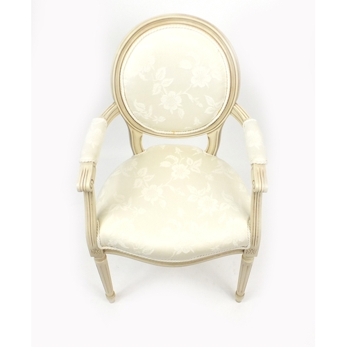 2028 - French style open armchair with cream upholstery...