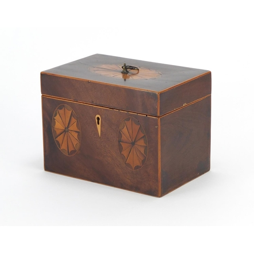 21 - Georgian inlaid mahogany tea caddy with twin divisional interior, 13cm H x 17.5cm W x11.5cm D...