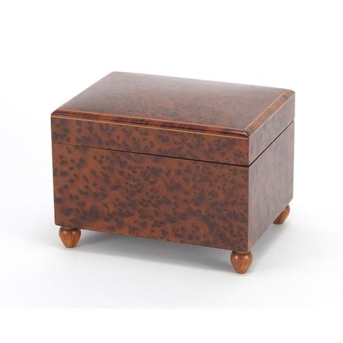 24 - Austrian maple musical box, part label to the base, 9.5cm H x 13cm W x 10cm D...
