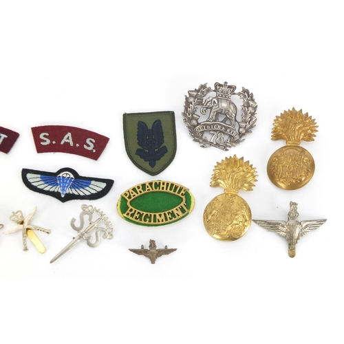 216 - Military interest cap badges and cloth badges including SAS, Parachute Regiment and Argyll Highland ...