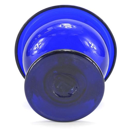 511 - Georgian Bristol Blue pedestal glass bowl, with remnants of gilding, 13.5cm high...