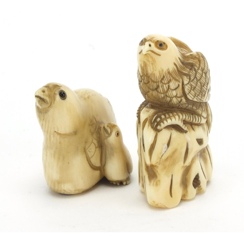 WITHDRAWN FROM SALE ** Japanese carved ivory bird netsuke's