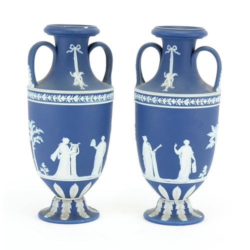 507 - Pair 19th century Wedgwood Jasper Ware vases with twin handles, each decorated in low relief with fo...