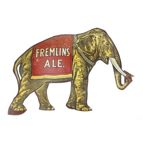 113 - Vintage Fremlins Ale elephant design enamel advertising sign, 46cm x 71cm...