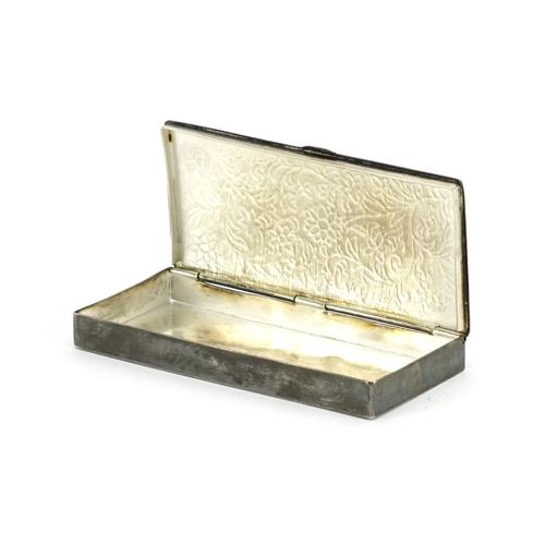 589 - Continental unmarked silver and enamel box with hinged lid, 9.2cm in length, approximate weight 52.8...
