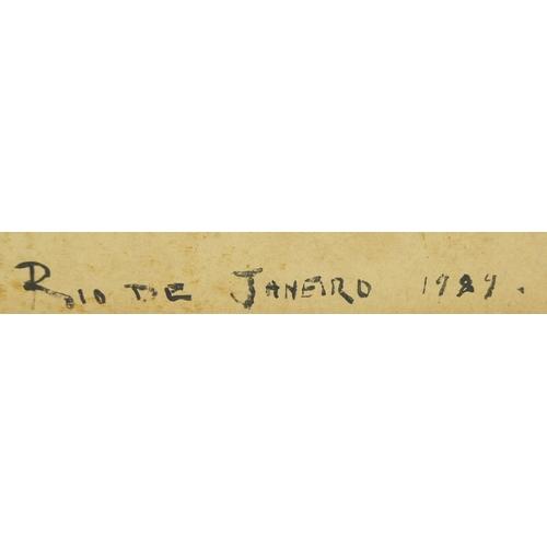 908 - Rio de Janeiro coastal scene, oil on card, bearing an indistinct signature possibly Cassoqneto, moun...