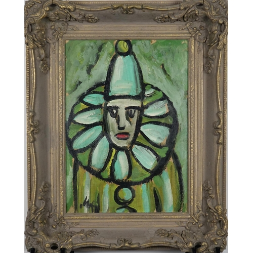 905 - Portrait of a clown, Irish school oil on board, bearing an indistinct signature, mounted and framed,...