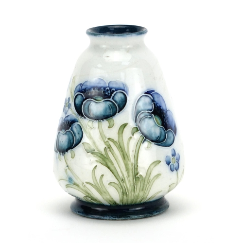 537 - Miniature Macintyre Moorcroft pottery vase, hand painted and tube lined in the Blue Poppy pattern, f...