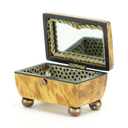 53 - 19th century blonde tortoiseshell trinket box, the hinged lid with mirrored back, 4.5cm H x 6.5cm W ...