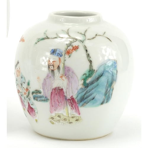 301 - Chinese porcelain comprising a octagonal bowl, hand painted in the famille rose palette with figures...