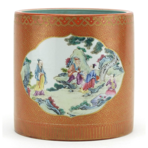 274 - Chinese porcelain cylindrical brush pot, hand painted in the famille rose palette with two panels of...