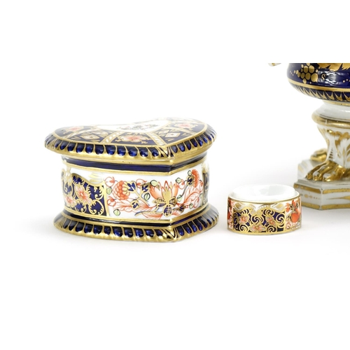 508 - Derby porcelain including Imari pattern love heart trinket box and cover, miniature milk churn, hexa...