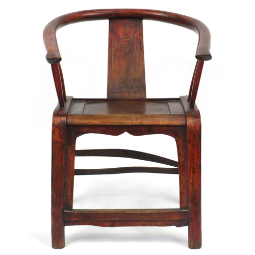 2036 - Chinese carved hardwood Horseshoe chair, 90cm high...
