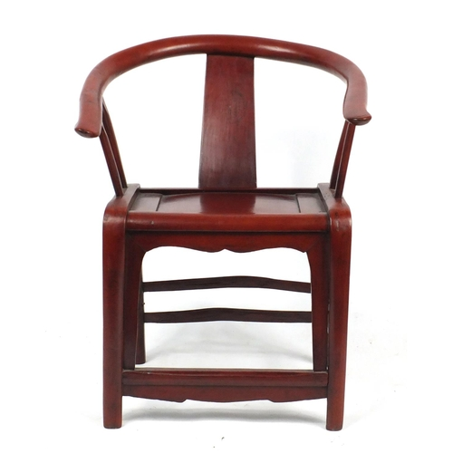 2045 - Chinese carved hardwood Horseshoe chair, 90cm high...