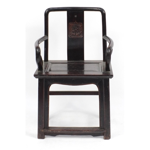2049 - Chinese carved hardwood yoke bake chair, 100cm high...