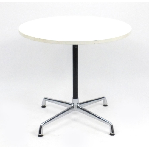 2046 - Charles Eames Vitra dining table with legs, 72cm high x 80cm in diameter...