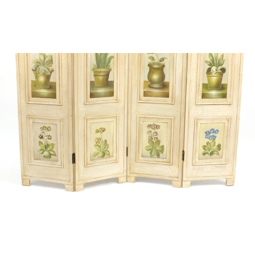 2044 - French style four fold dressing screen with hand painted panels of flowers, 180cm H x 160cm W...
