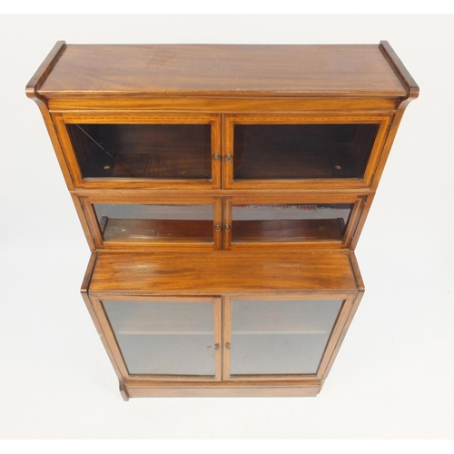 2013 - Inlaid mahogany three section stacking bookcase with glazed doors, 142cm H x 88cm W x 38cm D...