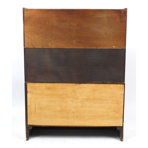 2026 - Inlaid mahogany three section stacking bookcase with glazed doors, 118cm H x 88cm W x 28cm D...