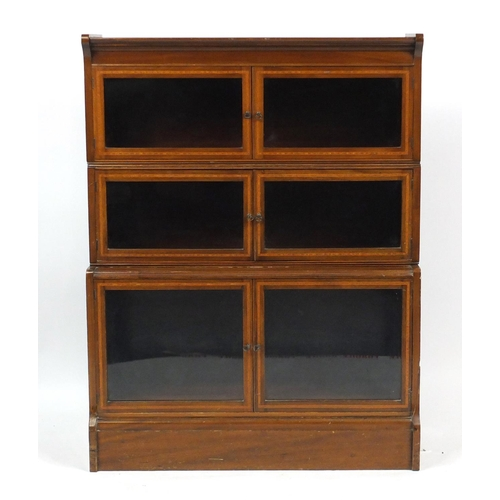 2025 - Inlaid mahogany three section stacking bookcase with glazed doors, 115cm H x 88cm W x 32cm D...