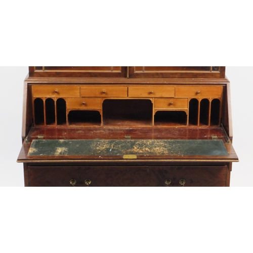2018 - Georgian style mahogany bureau bookcase by Warings, fitted with a pair of glazed doors above a fall ...