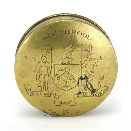 35 - Antique circular brass tobacco box, the lift off lid engraved Liverpool Deus Nobis Hec Otis Fecit, 8...