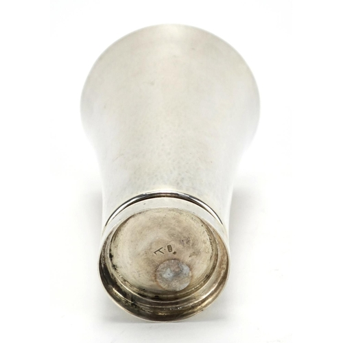 588 - Modernist beaten silver fluted beaker, stamped 925, 13.5cm high, approximate weight 200.3g