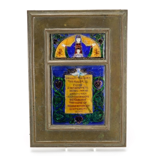 586 - Arts & Crafts bronze and enamel wall plaque depicting Madonna and child from a 17th century design, ...