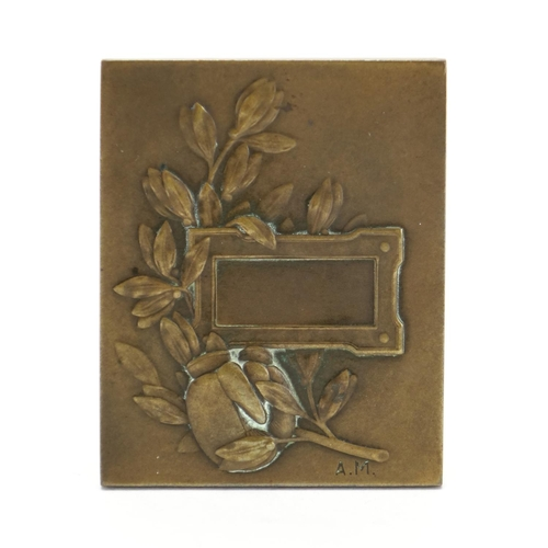 55 - Boxing interest bronze plaque with two boxers, impressed AM, 6cm x 5cm...