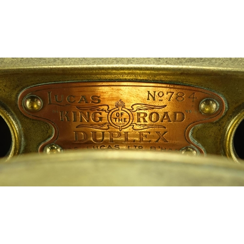 94 - Lucas King of the Road Duplex lamp, with copper plaque numbered 784, 31cm high...
