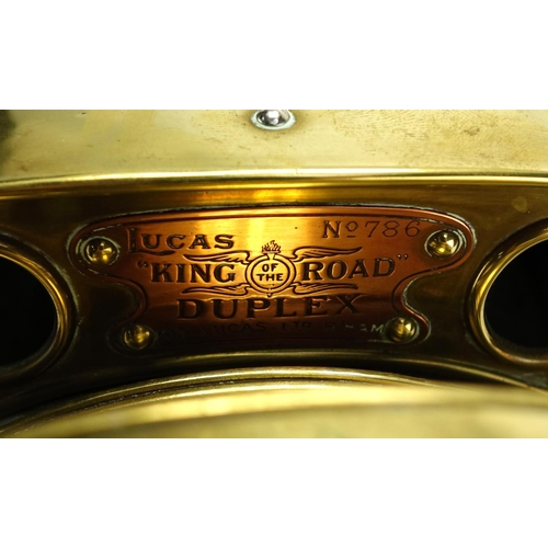 93 - Lucas King of the Road Duplex brass lamp, with copper plaque numbered 786, 31cm high...