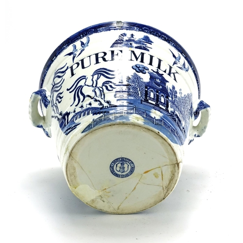 492 - Victorian Dairy Outfit Co pure milk pale with twin handles, transfer printed in the Willow pattern, ...