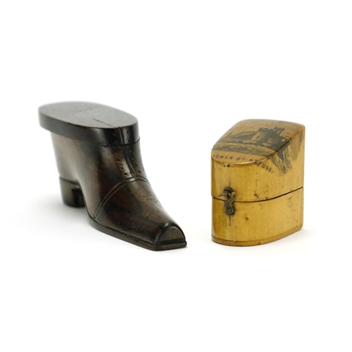 40 - 19th century rosewood shoe snuff box and a Mauchline Ware thimble case, decorated with The Tower of ...