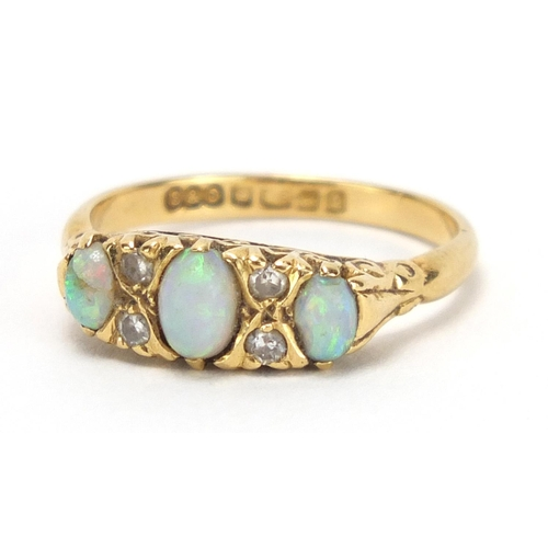 710 - 18ct gold opal and diamond ring, Birmingham 1965, size N, approximate weight 4.1g...