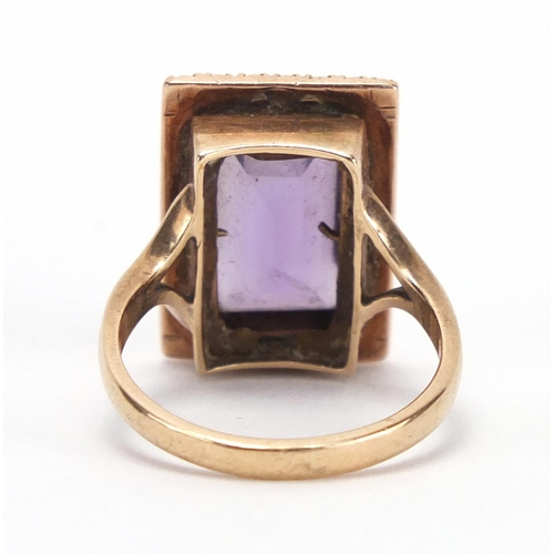 686 - Victorian unmarked gold amethyst and seed pearl ring, size O, approximate weight 6.3g...
