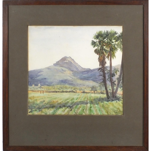 907 - Irene Dunlop 1926 - In the Shadow of Cape Mountain, early 20th century watercolour, signed, mounted ...