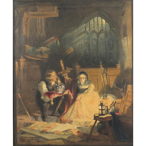 876 - Alexander Chisholm - The concealment of the Scottish Regalia in the Kirk of Kinneff, watercolour, in...