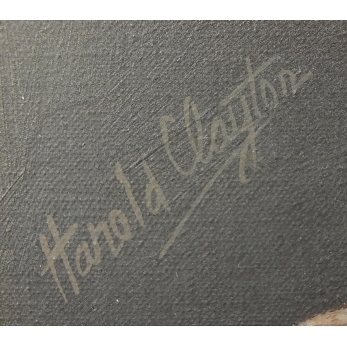 862 - Harold Clayton - A Flush of Summer Flowers, oil on canvas, Stacy Marks label and insurance valuation...