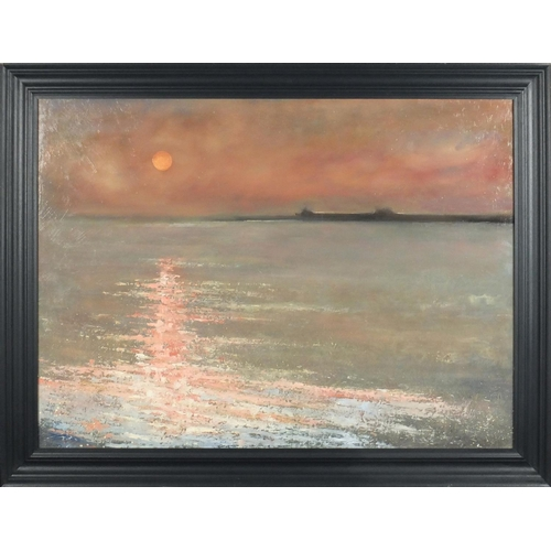 906 - Anthony Giles - Sunset outside a harbour, oil on board, framed, 81.5cm x 59.5cm...